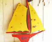 Vintage Wooden Sailboat Wall Hanging - Cub Scout Handmade - Yellow Red and Blue - Kitschy Nautical Decor