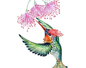 Green hummingbird, hummingbird print, bird watercolor painting print, size 10x8 (No. 29a)