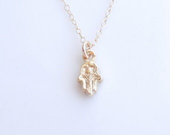 Dainty Hamsa Necklace in Gold