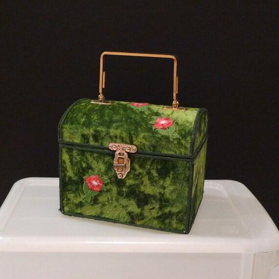 Velvet Box Bag Green crushed velvet purse 70's handbag Pink Flower Applique green Braid Trim vintage preppy FREE USA SHIPPING