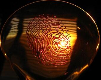 3D Bloody Fingerprints Martini Glass Set (2) Red Fingerprints
