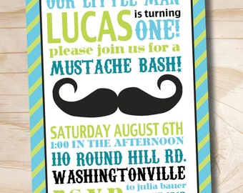 Printable Invitation - Mustache Bash Little Man 1st Birthday Party