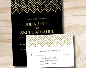 ART DECO GATSBY Rustic Chevron Wedding Invitation and Response Card Invitation Suite
