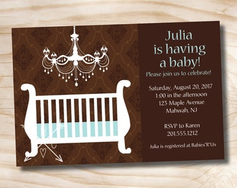 ELEGANT CHANDELIER Baby Shower Invitation - Printable Digital file or Printed Invitations