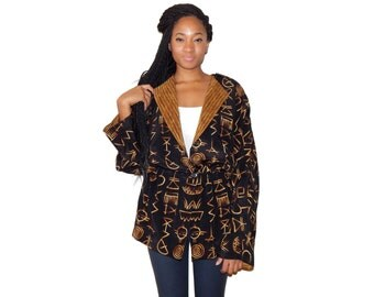 Reversible Jacket - Black Ethnic Print Jacket - 80s Vintage - Womens Peplum Jacket - M - L - Medium - Large