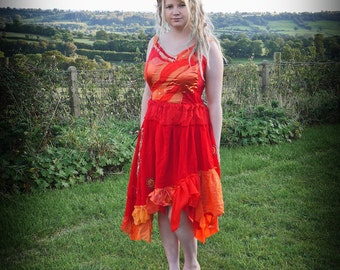 Women's fire goddess dress, red & orange adult fairy dress, festival clothing, party dress Size medium