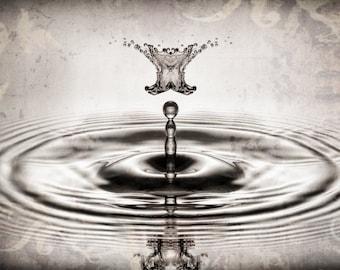 "Liquid Sculpture Sepia Water Drop Collisions Macro Photography ""Uneasy Lies the Head"""