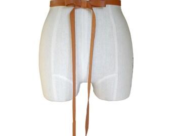 "Seamless Leather Ribbon Tie Belt Honey Tan 1/2"" Basic Narrow Strap Belt Preppy belt Wedding dress sash Leather ribbon, XS, S, M, custom made"
