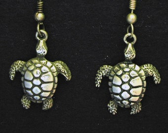 Sterling Silver Hawaiian Style Sea Turtle Earrings on Sterling Silver French Wires