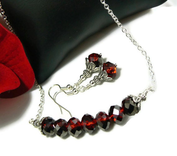 Garnet Red Czech Glass Necklace Set, Beaded Necklace and Earrings