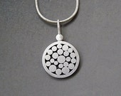 Sterling silver granulated pendant - Sterling silver disc pendant - Silver necklace - Silver jewelry - Handcrafted jewelry