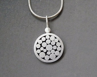Sterling silver granulated pendant. Sterling silver disc pendant. Silver necklace. Silver jewelry. Handcrafted jewelry. MADE TO ORDER.
