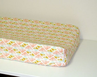 Baby Changing Pad Cover - Arizona - Crystal Arrowheads - Contoured - in White, Coral, Mint, Mustard