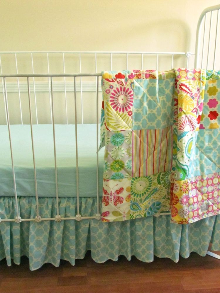 2 Pc Baby Quilt And Gathered Crib Skirt Kumari Garden
