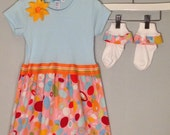 FROCKS with SOCKS Infant Blue Opal and Matching Ruffle Socks