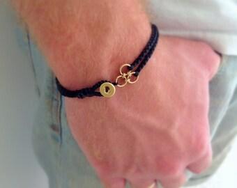 Black braided bracelet . Black mens bracelet . Men black bracelet. Mens bracelet. Christmas gift for him.