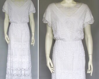 vintage 70s crochet lace dress white wedding maxi Medium