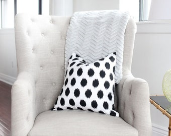 "Black Ikat Dots Decorative Pillow Cover 12x18""  Lumbar-  Dots- Black- Ivory/White"