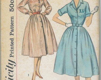 2458 UNCUT 1950's Women's Shirt Dress Sewing Pattern Simplicity 2458 Bust 36