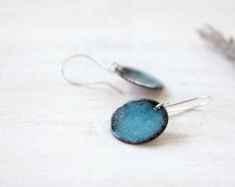 Blue dangle earrings - small enamel earrings - sky blue and black - sterling silver earwire - artisan jewelry by Alery