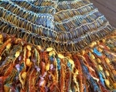 Colorful Knitted Throw Blanket in Turquoise Green, Yellow, Orange, Grey, Brown. Fringed Home Decor Afghan Lap Warmer