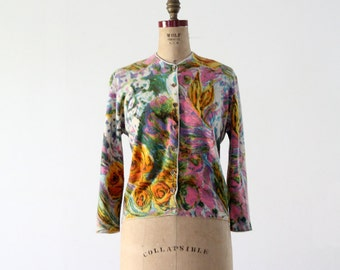 FREE SHIP  1960s Ste. Laurent floral cardigan