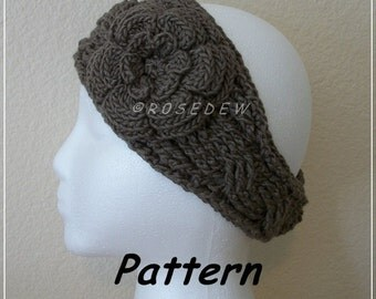 Instant Download for PDF CROCHET Pattern: Modified Twist Headband with Irish Rose, Now 4.23 !