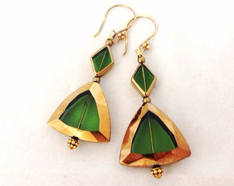 Gold & Green Czech Bevel Glass earrings - 24Kt gold vermeil earwires - Swarovski beads - triangle - Bronze, Gold, Moss, Lime - geometric