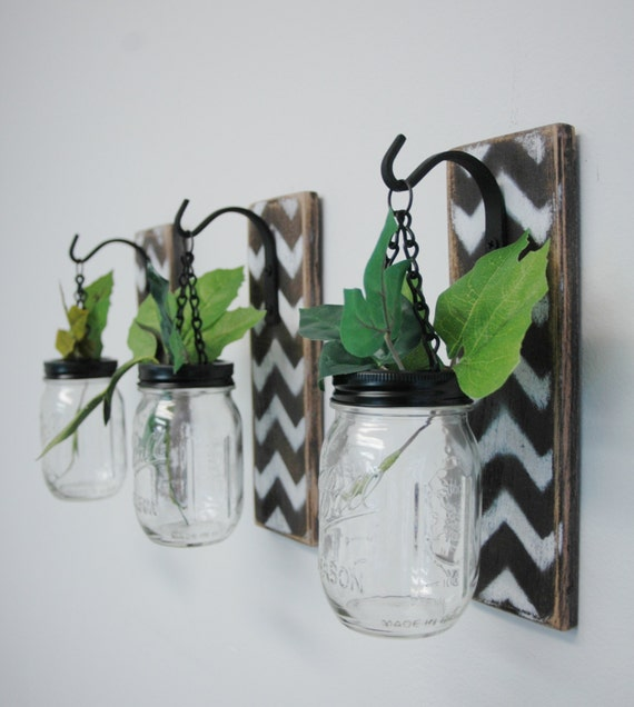 Individual Hanging Chevron Painted Mason Jar Wall Decor Home Decor bedroom decor kitchen decor