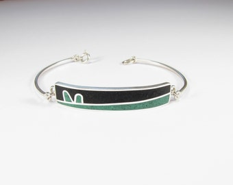 Sterling Silver Bracelet, Modern, Contemporary, Green, Black, Colorful
