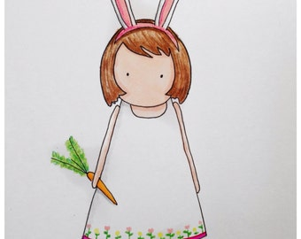 Nursery Art, Illustration, Easter Bunny Girl, Spring, Art for Children, Kids Decor, Kids Room Art, Baby Nursery