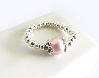 Light Pink Glass Pearl Silver Stretch Ring