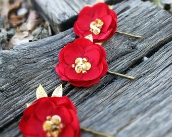 Handmade Fabric Flower Red and Gold Bobby Pins