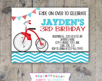 TRICYCLE Red & Aqua Chevron Birthday Invitation 5x7 - Printable