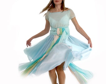 Sweet Spring dress of romantic chiffon layers in pale-blue pastel hues