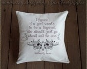 "Calamity Jane quote pillow cover "" Cowgirl Up "" 16x16 inch embroidered decorative cotton cushion sham Strong woman Feminist Shero saying"