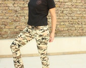 Freaking Dope - Vintage Military Style Stretch Pants - Army Pants - Camouflage Pants Size can fit for S and M + T shirt = set from picture