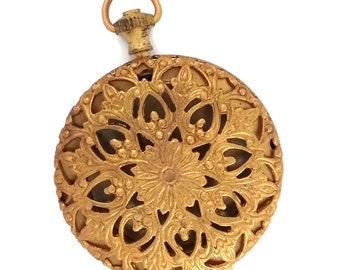 Raw Brass Victorian Style Filigree Empty Pocket Watch 1 Locket Stamping Vintage Tooling Perfect for Steampunk Art Made in the USA Brass