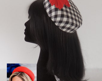 """Inspired on my new """"Maxima"""" hatblock  this black and off white gingham saucer hat with red vintage embellishment on comb"""