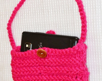 Pink Cell Phone Carrier, Hand Knitted, iPhone Sock, Small Purse, Hand Made in the U S A, Item No. DeBg10