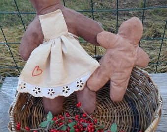 Primitive, Gingerbread, Gingerlady holding Little Ginger, Doll, Handmade, Apron, Hand Embroidered Heart, Grungy, One of a Kind Set,  CUTE