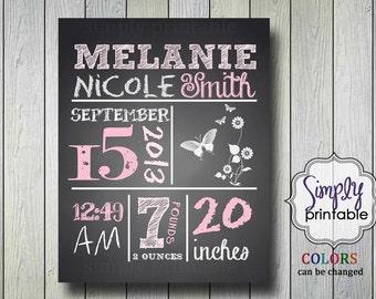 Blackboard Birth Announcement 8x10 Printable Nursery Wall Art