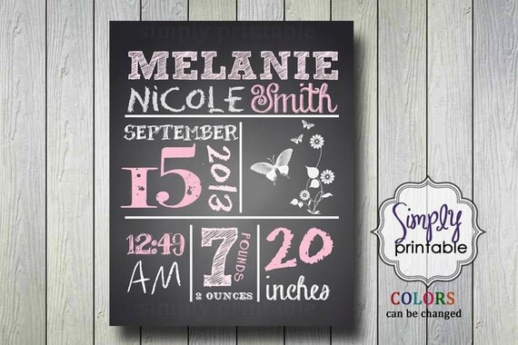 Blackboard Birth Announcement 8x10 Printable Nursery Wall Art