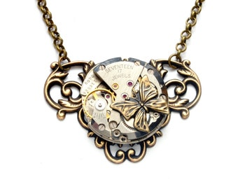 BUTTERFLY Steampunk Necklace Steampunk Jewelry Steampunk Watch Necklace Antique Brass Steam Punk Steampunk Jewelry By Victorian Curiosities