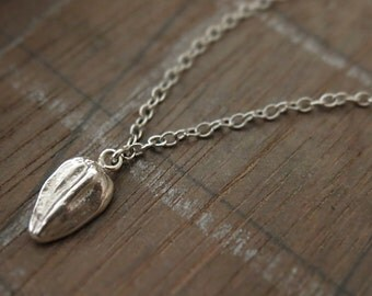 Sterling Silver Sunflower Seed Charm Necklace Modern Simple Nature Inspired