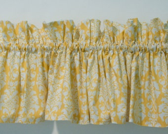 Yellow Valance In White Damask For Bathroom, Bedroom, Dining Or Kitchen  Rooms, White