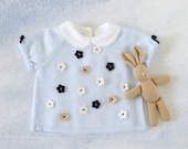 Knitted sweater with short sleeves and little felt flowers. Soft blue. 100% merino wool. READY TO SHIP size 1-3 months .