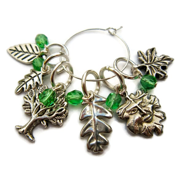 Green Man Stitch Markers, trees, leaves,