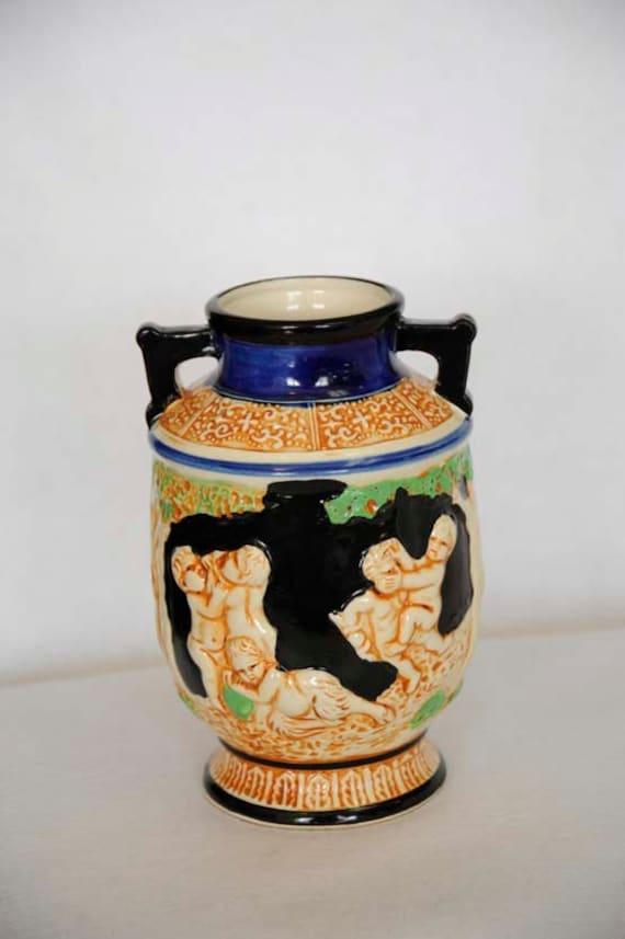 Large Vintage JAPANESE MAJOLICA Mythology Vase.. Babies, Cherubs, Fauns