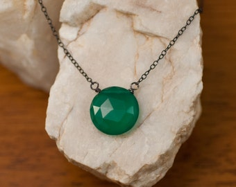 Green Onyx necklace - Oxidized Silver Necklace - Gemstone necklace  - Round Stone Necklace - Gift for Her